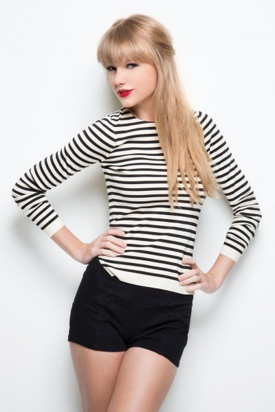 long-sleeved striped black and white top with mini shorts