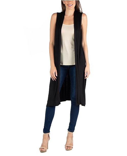 24seven Comfort Apparel Sleeveless Long Cardigan Vest with Side .