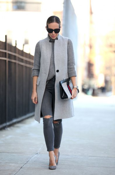 long wool vest with ribbed gray, chunky sweater