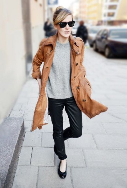 Longline brown leather jacket black ballerinas