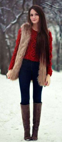 brown longline vest with green knitted sweater with gray knee-high boots with open toes