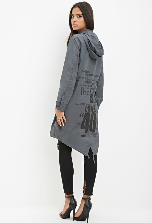 Longline fishtail jacket with ripped jeans
