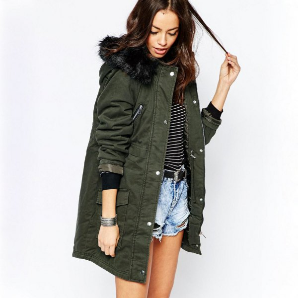 gray long parka jacket with striped T-shirt and blue denim shorts