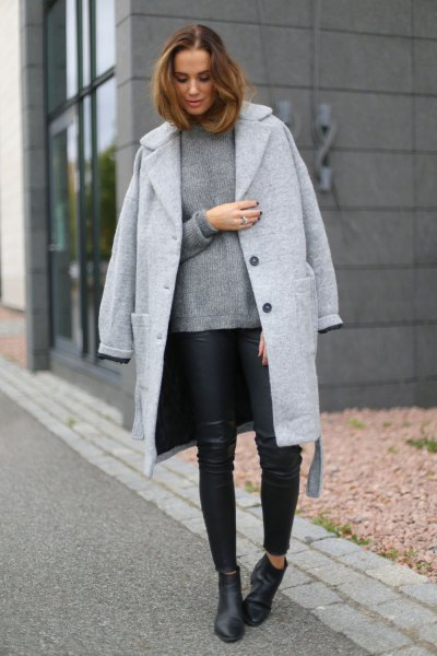 Longline wool boyfriend coat with sweater and black leather gaiters