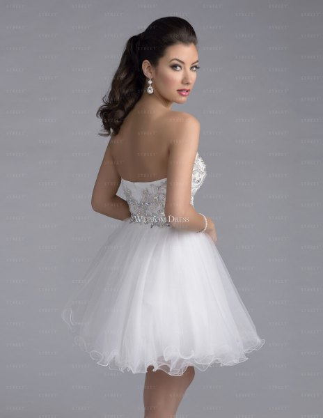 Strapless white tulle dress with a low back