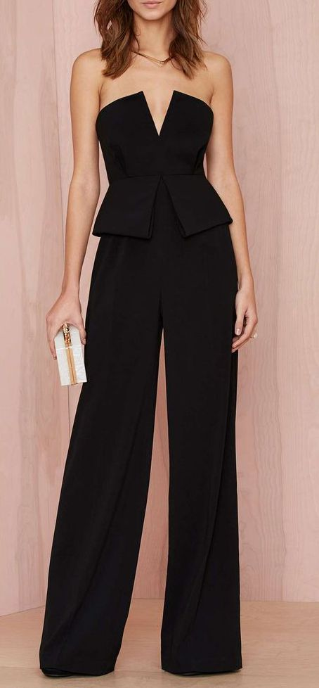 Palazzo overall with a low V-neckline