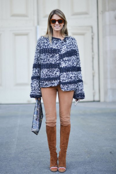 Marbled knitted sweater riding breeches