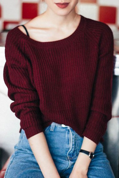 Maroon ribbed sweater with a boat neckline, black top with spaghetti straps and mom jeans