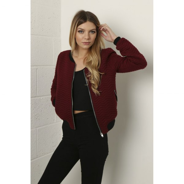maroon bomber jacket all black outfit