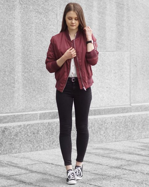 Maroon bomber jacket white shirt with buttons