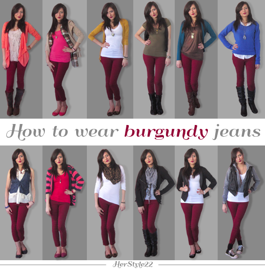 12 outfit ideas to wear burgundy jeans http://www.youtube.com .