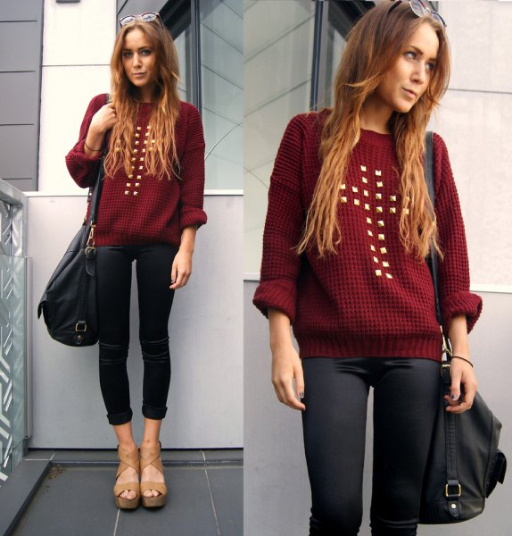 Maroon studded sweater with black coated skinny jeans