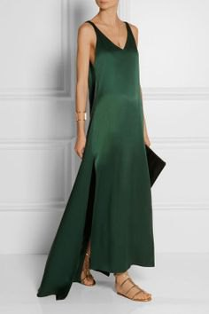 Maxi dress with black leather clutch