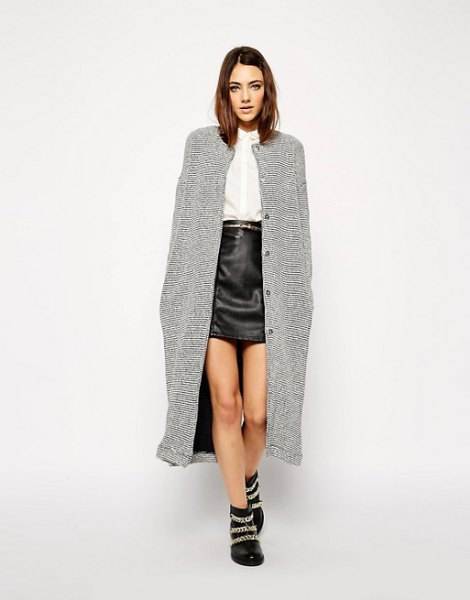 Maxi tweed jacket black leather mini skirt