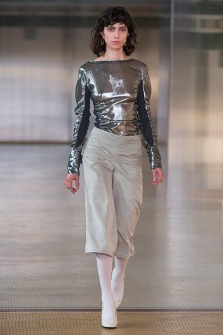 Metallic blouse with gray, cropped pants with wide legs