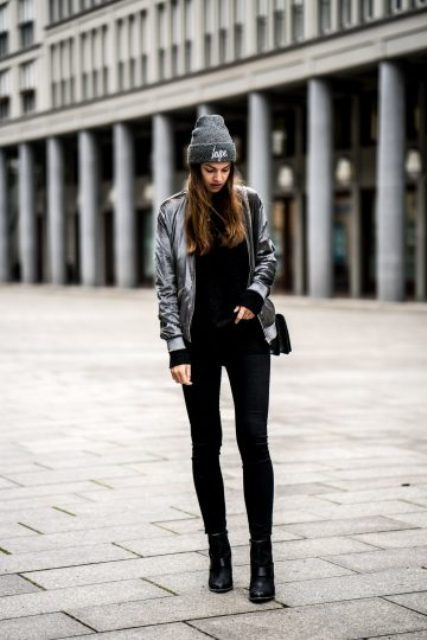 15 Amazing Outfit Ideas With Metallic Bomber Jackets - Styleohol