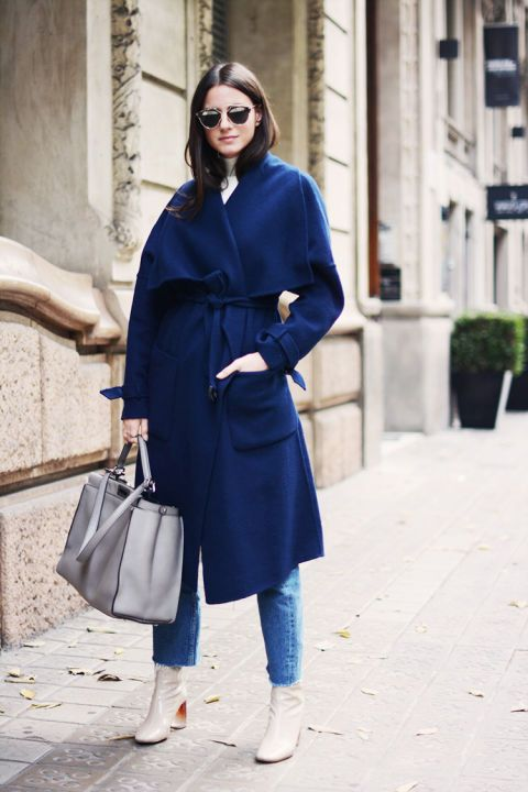 medium calf boot blue coat