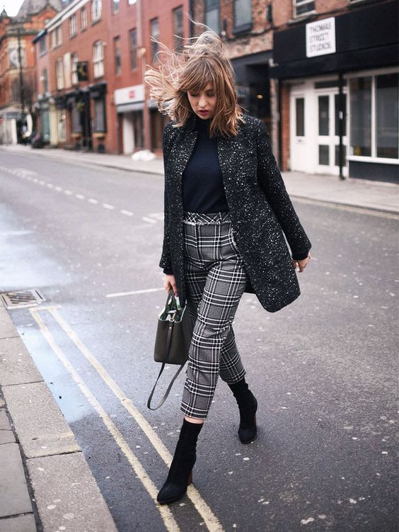 Checkered pants with calf boots