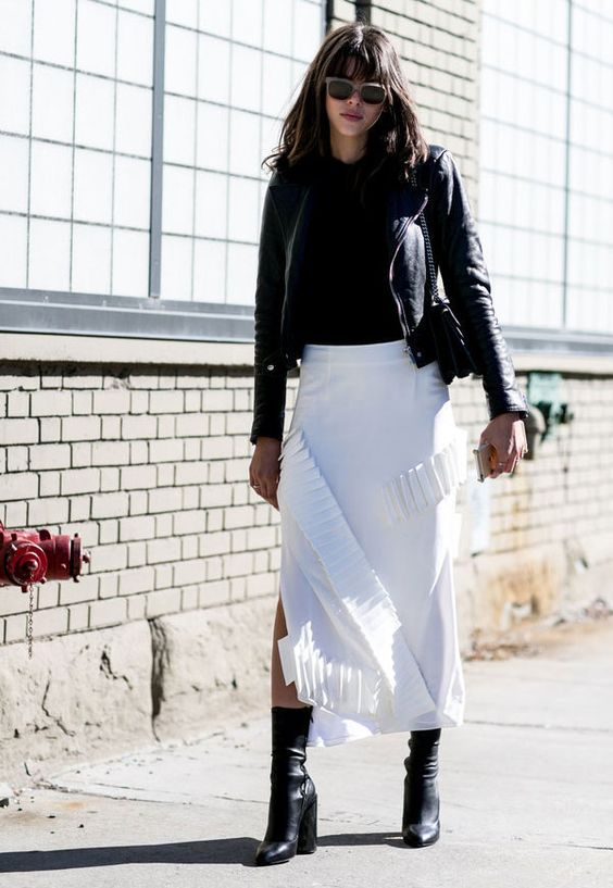 mid calf boot white skirt