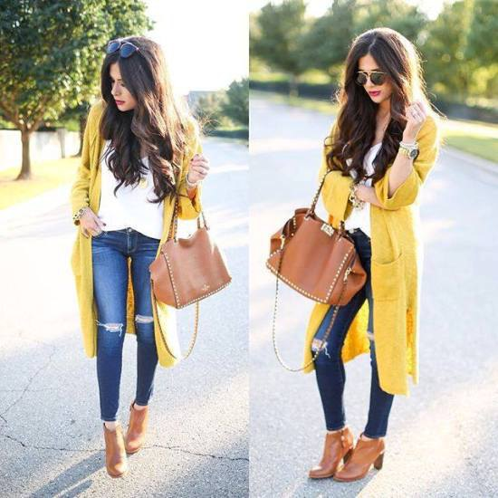 Midi cardigan with blue skinny jeans and camel boots