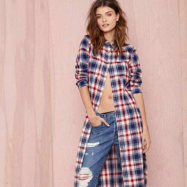 Midi checked tunic shirt dress with ripped boyfriend jeans