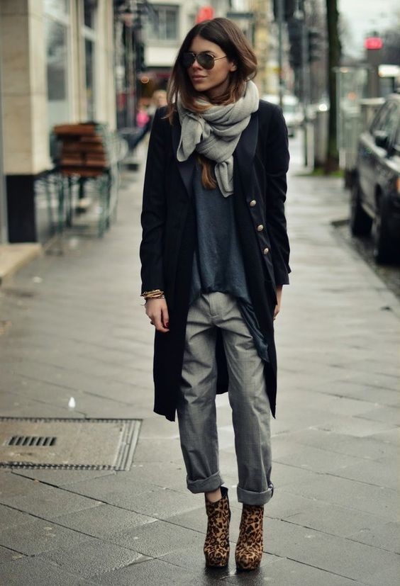Military coat gray chinos