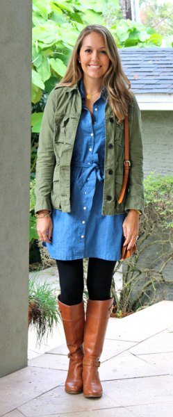 Military jacket with buttoned chambray dress