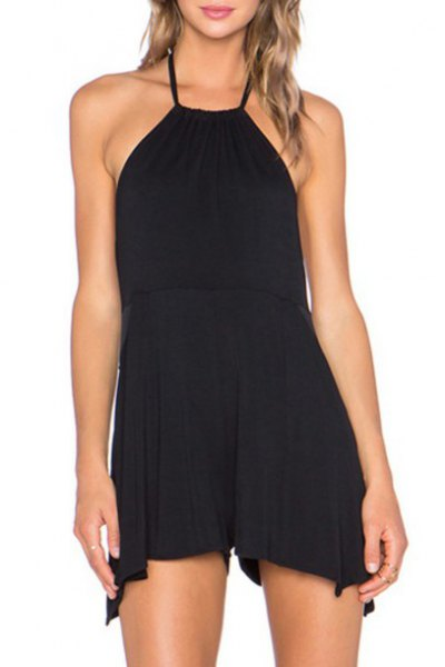 Mini black halter sheath dress with open toes