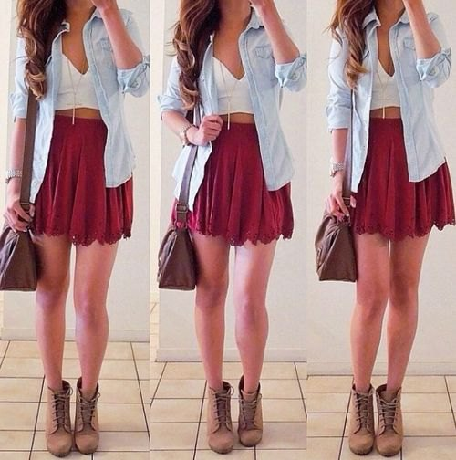 Mini skirt with white crop top with deep V-neck and chambray shirt with buttons
