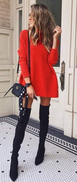 Mini sweater dress with black, thigh-high suede boots