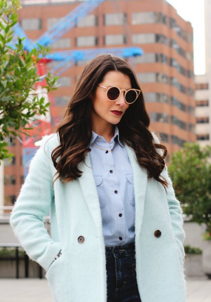 Mint green chambray shirt with a white longline coat