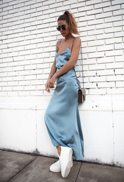Mint green maxi silk dress with white platform sneakers