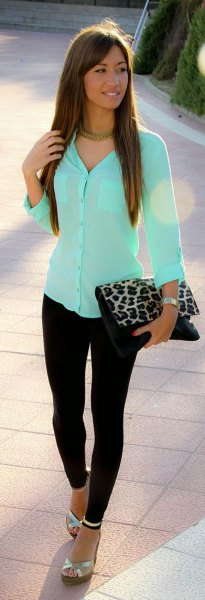 Mint green, slim fit shirt with buttons and clutch with leopard print