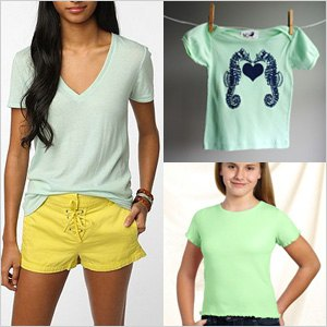 Mint V-neck t-shirt and yellow mini-shorts