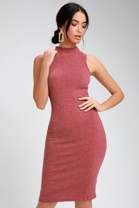 Bodycon midi dress with mock neck and light pink open toe heels