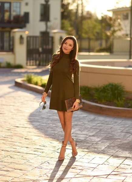 Mock Neck Brown Mini Swing Dress with Light Pink Ankle Strap Suede Heels