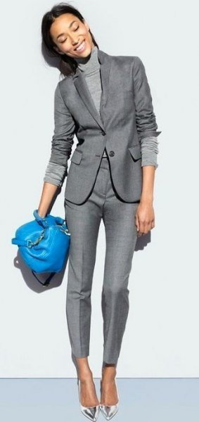 Mock neck knitted sweater with gray blazer and matching pants
