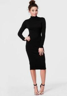 Long-sleeved midi dress with stand-up collar and open toe heels