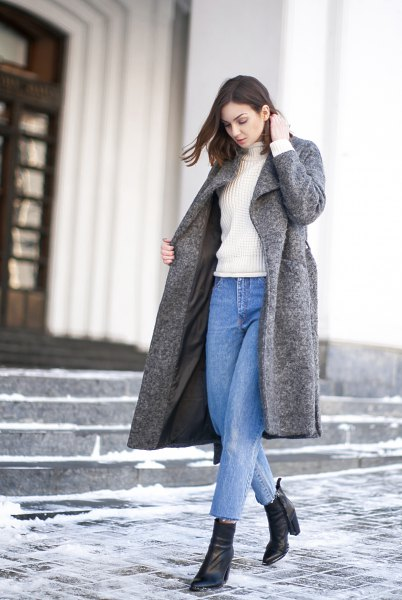 Mother jeans gray wool coat