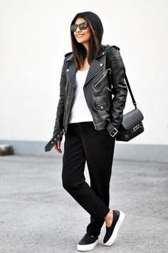 Moto jacket with slim fit jeans and black leather trainers
