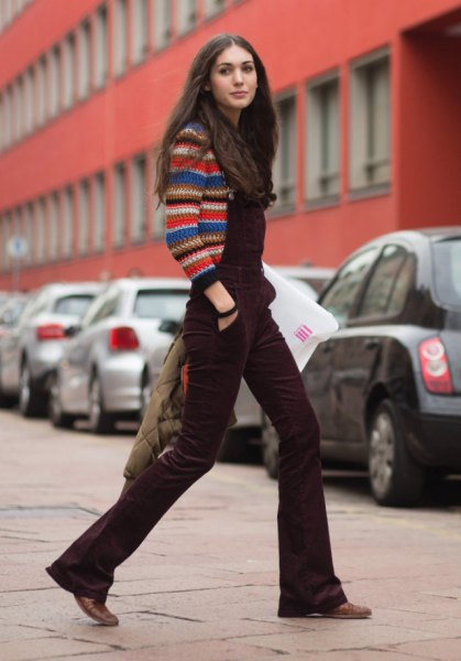 multicolored knitted sweater with brown velvet overall