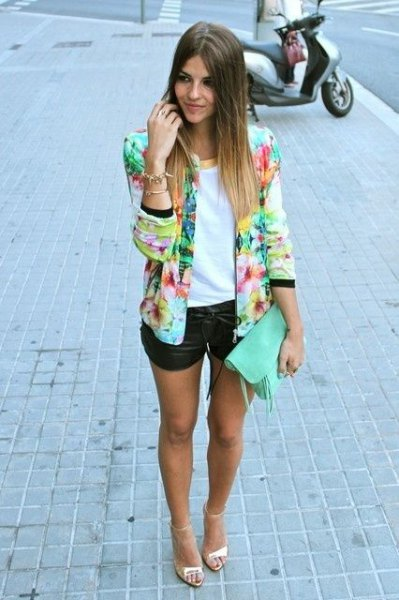 multicolored blazer with white top and black mini leather shorts