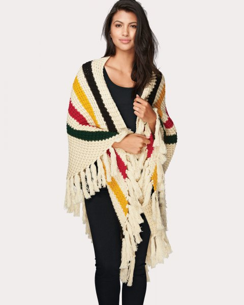 Multi colored striped knit fringe wrap any black outfit
