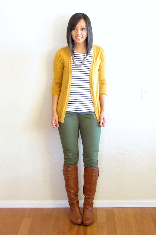 Putting Me Together: Olive and Mustard | Yellow cardigan outfits .