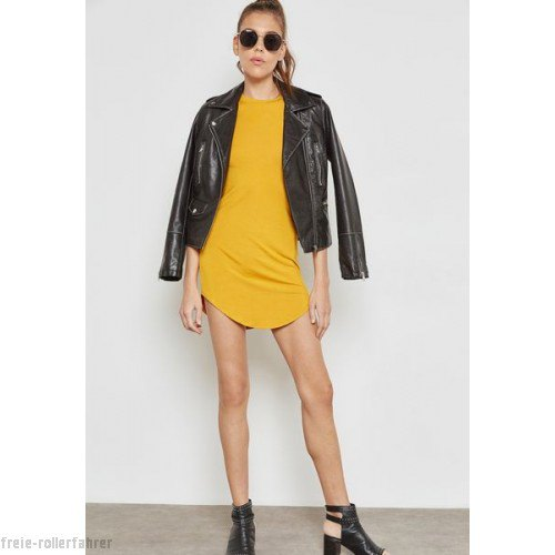Mustard t-shirt dress with black leather jacket