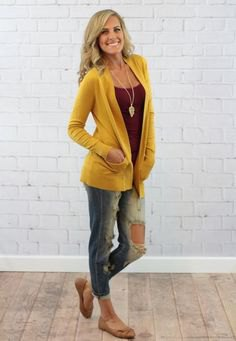 Mustard yellow, casual cardigan with a gray tank top with a scoop neckline