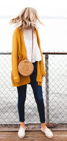 Mustard yellow longline cardigan with chiffon blouse and ankle jeans