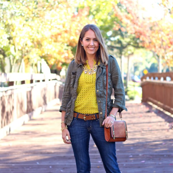 Mustard yellow, semi-transparent top with military green jacket