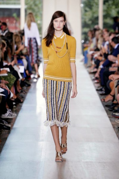 Mustard yellow slim fit polo shirt with striped midi skirt in tribal style