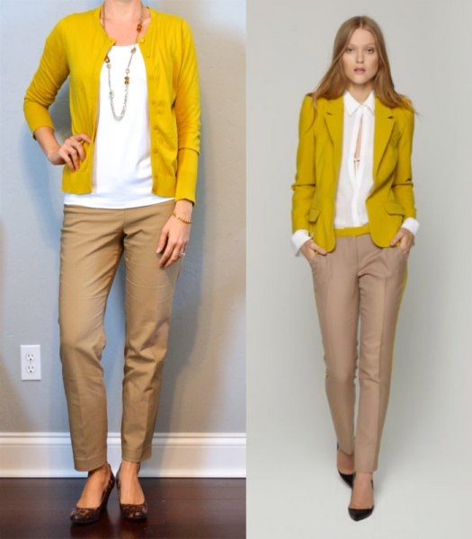 mustard yellow cardigan with white blouse and beige chinos